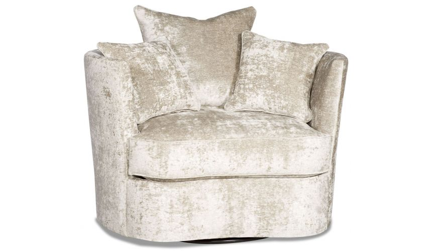 MOTION SEATING - Recliners, Swivels, Rockers Lux platinum barrel style swivel chair