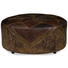 Western style leather starburst ottoman