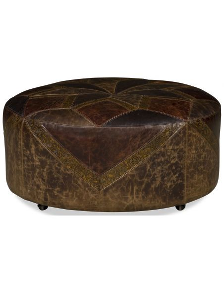 OTTOMANS Western style leather starburst ottoman