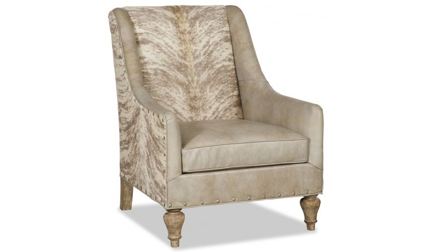 CHAIRS, Leather, Upholstered, Accent Elegant armchairwith hair on hide accents
