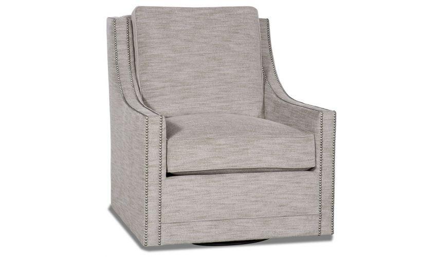 MOTION SEATING - Recliners, Swivels, Rockers Gunmetal grey swivel armchair