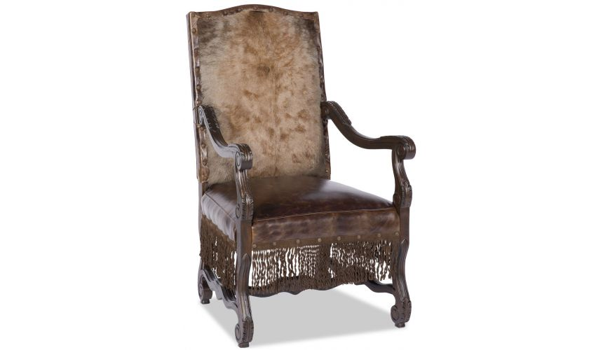 CHAIRS, Leather, Upholstered, Accent Armchair with hand carved wooden details with fringe