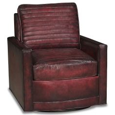 High style leather swivel accent chair
