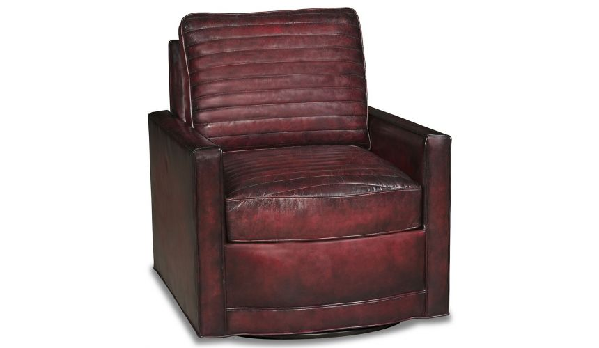 MOTION SEATING - Recliners, Swivels, Rockers High style leather swivel accent chair