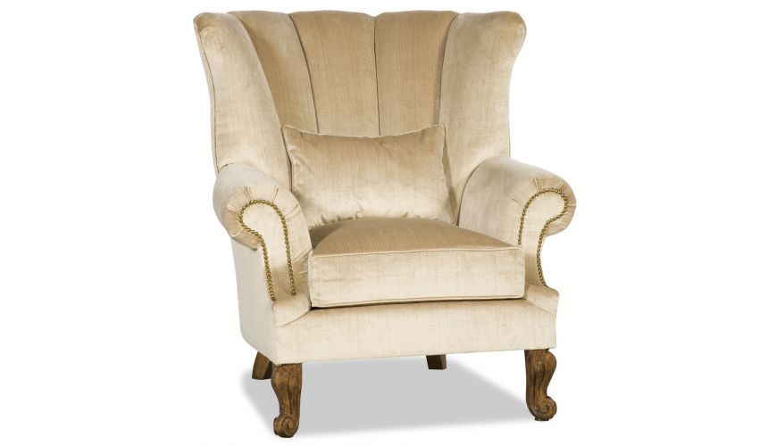 CHAIRS, Leather, Upholstered, Accent Bisque colored armchair