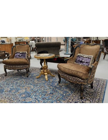 22 Victorian style sofa with a black and gold color theme.