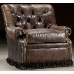 Leather armchair with fringe