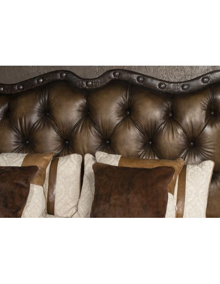 Queen and King Sized Beds 1 Luxury leather bed with eye catching western styling
