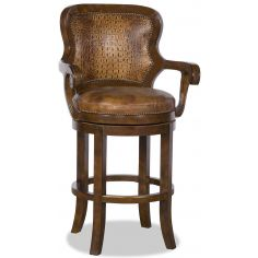 Gator Embossed Leather Swivel Bar Chair