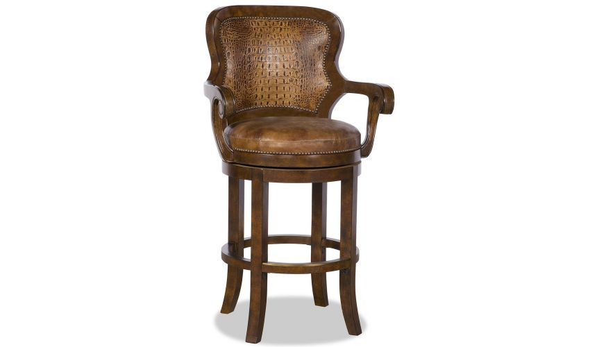 Home Bar Furniture Gator Embossed Leather Swivel Bar Chair