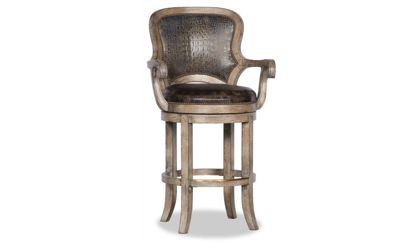 Home Bar Furniture Light Color Gator Embossed Leather Swivel Bar Chair