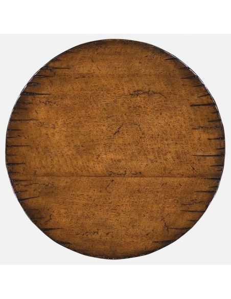 Walnut round lamp table