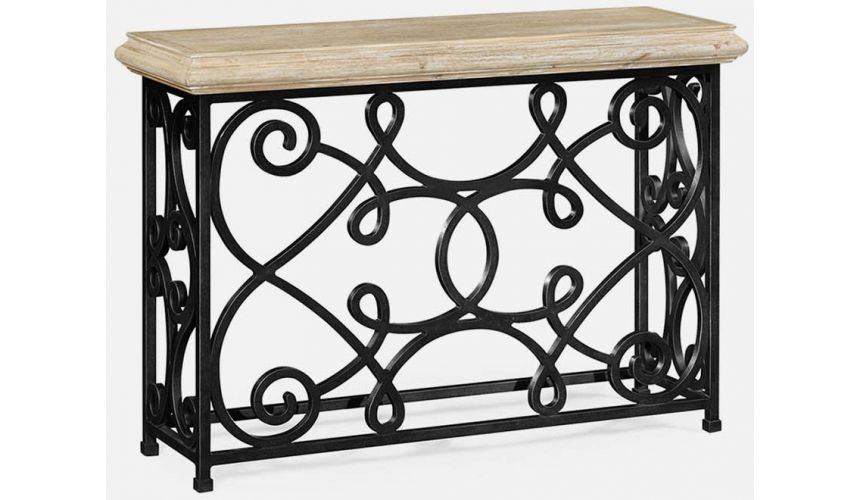 """Console & Sofa Tables 72\\"""" limed wood console"""