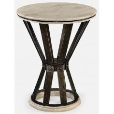 Iron round marble table