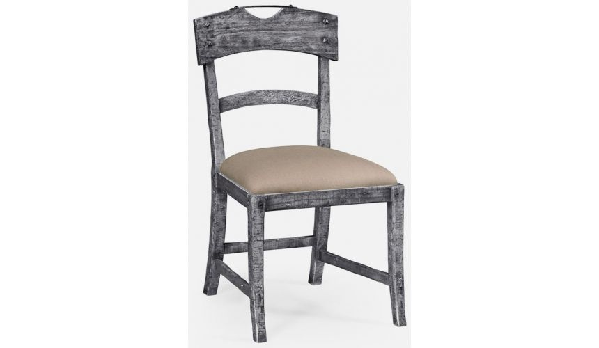 Dining Chairs Antique dark grey side chair