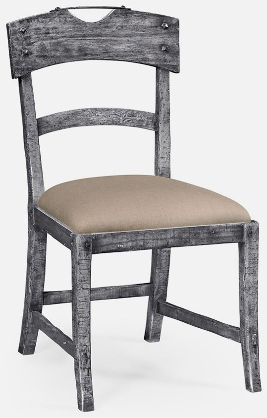 Dining Chairs Antique dark grey side chair - Antique Dark Grey Side Chair