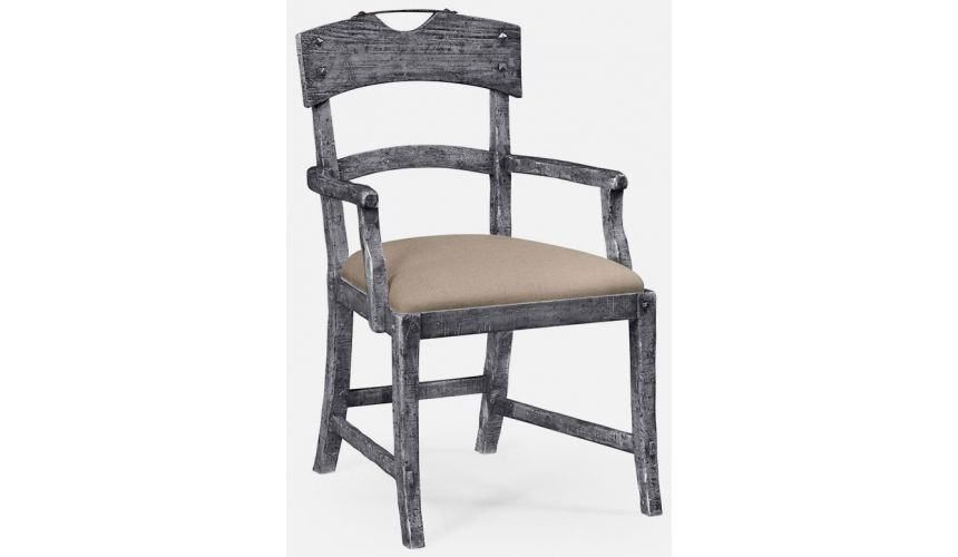 Dining Chairs Planked dark grey armchair
