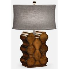 Rustic walnut table lamp