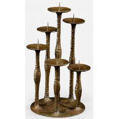 Textured six branch candlestick