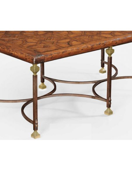 Rectangular and Square Coffee Tables Parquetry & Iron coffee table