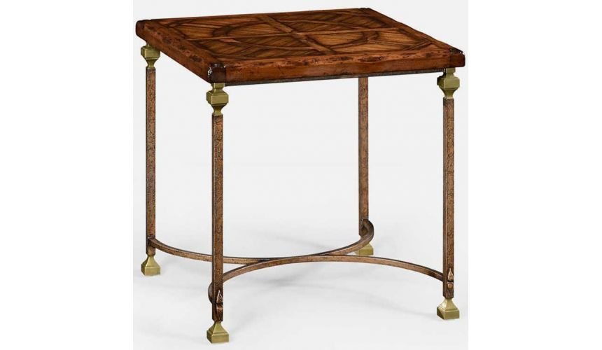 TABLES - SIDE, LAMP & BEDSIDE Parquetry & iron side table