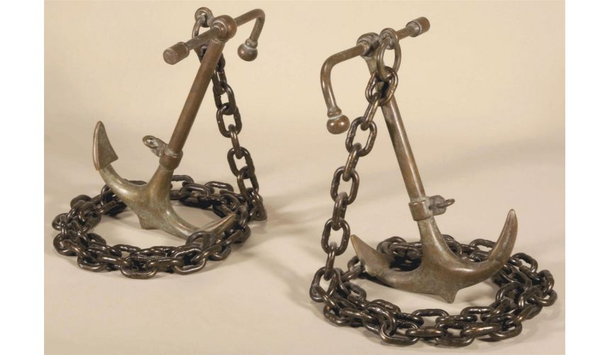Decorative Accessories Pair of Pompeian Patina Brass and Black Finished Iron Anchor Bookends