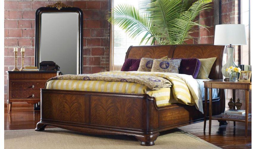 King Size Walnut Sleigh Bed, Walnut Sleigh Bed Queen