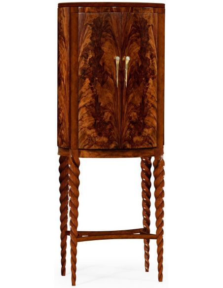 Upscale Bar Furniture Bar cabinet walnut twist leg