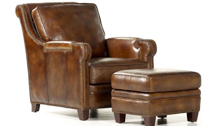 CHAIRS, Leather, Upholstered, Accent Weston Chair & Ottoman