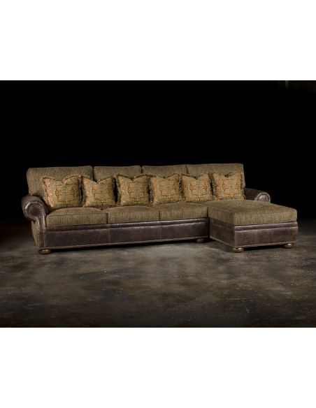 Luxury Leather & Upholstered Furniture Luxury Sectional with Chaise, Grand Sofa