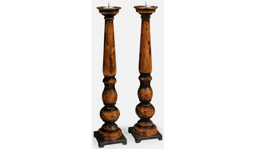 Decorative Accessories Rustic Walnut tall candlesticks