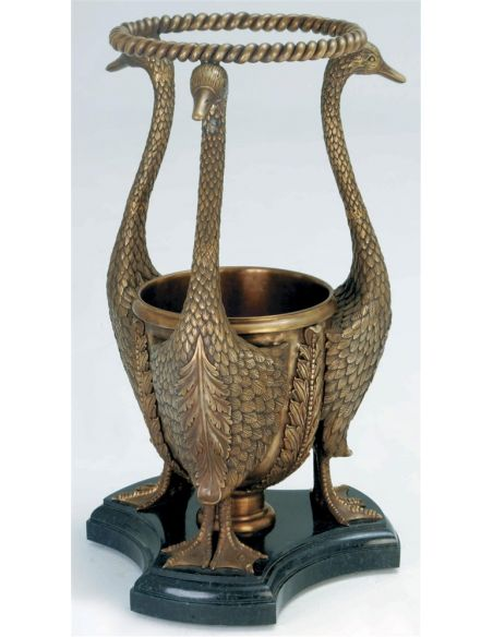 Decorative Accessories Finely Cast Antique Patina Brass Goose Umbrella Stand, Black Marble Base