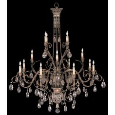 Three-tier chandelier in cool moonlit patina with moon dusted crystals
