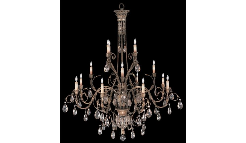 Lighting Three-tier chandelier in cool moonlit patina with moon dusted crystals