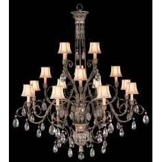 Chandelier in cool moonlit patina with moon dusted crystals.