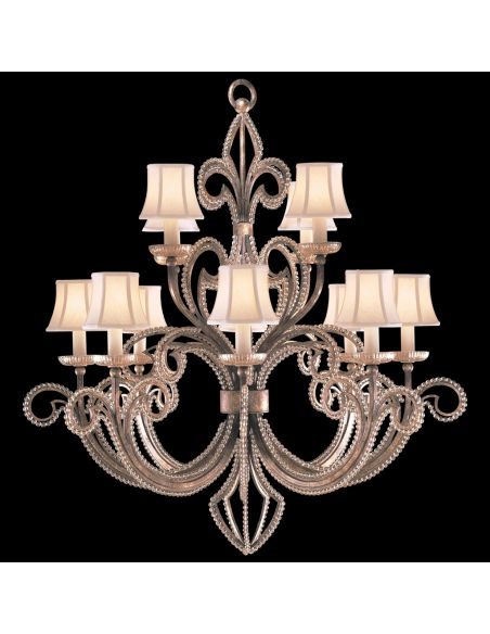 Lighting Two-tier chandelier in a cool moonlit patina