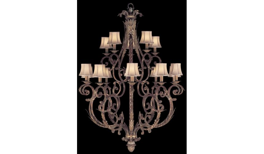 Lighting Two-tier chandelier in tortoised leather crackle finish with stained silver leaf accents
