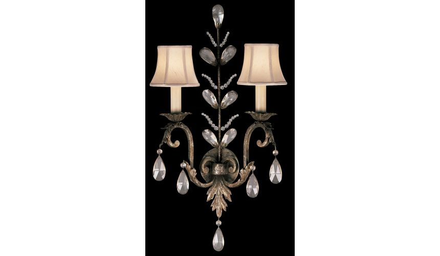 Lighting Wall sconce in cool moonlit patina with moon dusted crystal