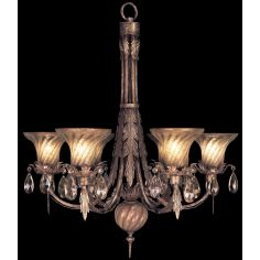 Chandelier in a cool moonlit patina with moon dusted crystal pendants