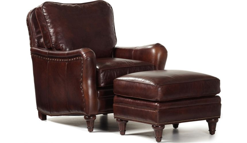 CHAIRS, Leather, Upholstered, Accent Finley Chair & Ottoman