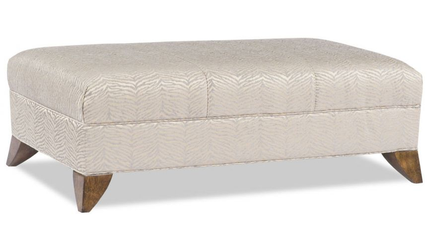 Luxury Leather & Upholstered Furniture Off White Upholstered Ottoman