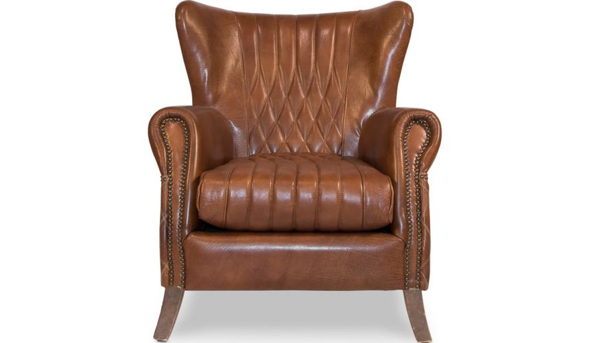 Luxury Leather & Upholstered Furniture Brown Leather Arm Chair 445