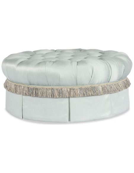 Luxury Leather & Upholstered Furniture Fringed and Tufted Ottoman
