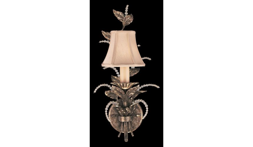 Lighting Wall sconce in a cool moonlit patina with moon dusted crystal tendrils