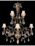 Chandelier in cool moonlit patina with moon dusted crystals