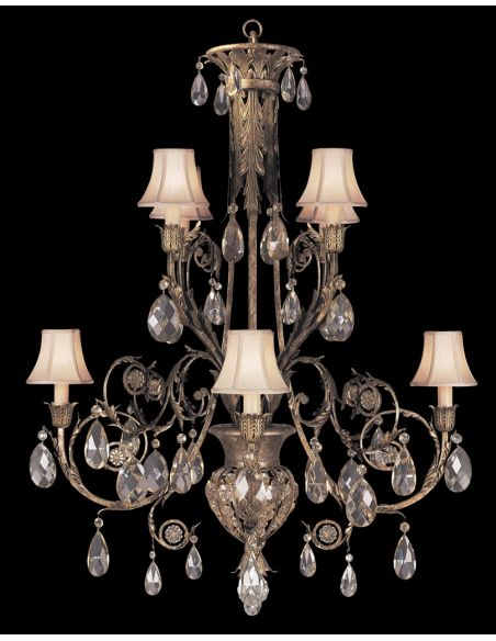 Lighting Chandelier in cool moonlit patina with moon dusted crystals