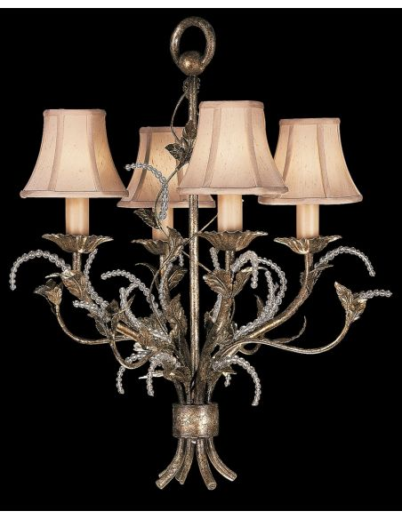 Lighting Chandelier in cool moonlit patina with moon dusted tendrils