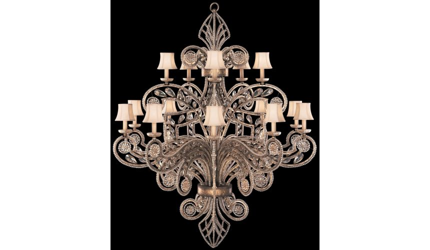Chandeliers Chandelier in a cool moonlit patina with thousands of moon dusted crystals