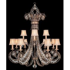 Chandelier in a cool moonlit patina with moon dusted rosettes