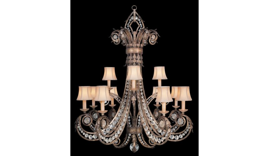 Lighting Chandelier in a cool moonlit patina with moon dusted rosettes